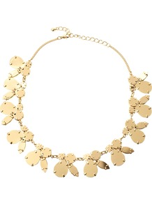Metallic Stone Necklace - predominant colour: gold; occasions: casual, evening, occasion, holiday; style: standard; length: short; size: standard; material: chain/metal; trends: metallics; finish: metallic; embellishment: chain/metal