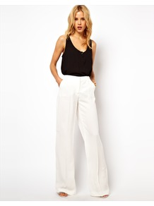 Relaxed Tailored Trouser - pattern: plain; waist: high rise; length: extra long; predominant colour: white; occasions: casual, evening; fibres: polyester/polyamide - 100%; fit: wide leg; pattern type: fabric; texture group: other - light to midweight; style: standard