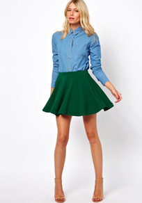 Skater Skirt In Rib - length: mid thigh; pattern: plain; fit: body skimming; waist: high rise; predominant colour: dark green; occasions: casual, evening, holiday; style: fit &amp; flare; fibres: polyester/polyamide - stretch; hip detail: soft pleats at hip/draping at hip/flared at hip; pattern type: fabric; texture group: jersey - stretchy/drapey