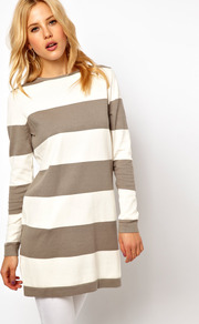 Stripe Knit Jumper Dress - style: jumper dress; length: mini; neckline: round neck; fit: loose; pattern: horizontal stripes; secondary colour: ivory; predominant colour: taupe; fibres: cotton - mix; sleeve length: long sleeve; sleeve style: standard; texture group: knits/crochet; pattern type: knitted - other; pattern size: standard