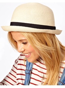 Straw Roll Brim Boater - predominant colour: stone; occasions: casual, holiday; type of pattern: light; style: brimmed; size: standard; material: macrame/raffia/straw; embellishment: ribbon; pattern: plain