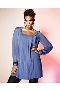 Grazia Beaded Cuff Tunic Top - pattern: plain; length: below the bottom; style: smock; predominant colour: denim; occasions: casual, evening, work; fibres: polyester/polyamide - 100%; fit: loose; sleeve length: long sleeve; sleeve style: standard; neckline: low square neck; pattern type: fabric; texture group: jersey - stretchy/drapey