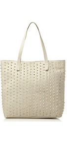 Bdulciesm Steve Madden Studded Shopper Bag - predominant colour: ivory; occasions: casual, work, holiday; type of pattern: small; style: tote; length: shoulder (tucks under arm); size: standard; material: faux leather; embellishment: studs; pattern: plain; finish: plain