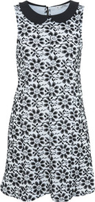 Petites Daisy Shift Dress - style: shift; length: mid thigh; sleeve style: sleeveless; fit: soft a-line; fibres: polyester/polyamide - stretch; neckline: no opening/shirt collar/peter pan; sleeve length: sleeveless; texture group: ornate wovens; predominant colour: monochrome; pattern type: fabric; pattern size: big &amp; busy; pattern: florals