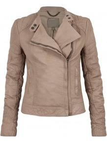 Ursae Leather Quilted Biker In Mink - pattern: plain; style: biker; collar: asymmetric biker; fit: slim fit; predominant colour: taupe; occasions: casual; length: standard; fibres: leather - 100%; sleeve length: long sleeve; sleeve style: standard; texture group: leather; collar break: medium; pattern type: fabric