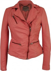Sirius Leather Biker Jacket In Coral - pattern: plain; style: biker; collar: asymmetric biker; fit: slim fit; predominant colour: coral; occasions: casual; length: standard; fibres: leather - 100%; sleeve length: long sleeve; sleeve style: standard; texture group: leather; collar break: medium; pattern type: fabric