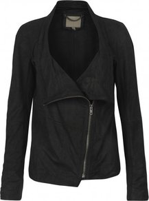 Castor Unlined Drape Leather Jacket In Black - pattern: plain; style: biker; collar: asymmetric biker; fit: slim fit; predominant colour: black; occasions: casual, evening; length: standard; fibres: leather - 100%; sleeve length: long sleeve; sleeve style: standard; texture group: leather; collar break: high/illusion of break when open; pattern type: fabric