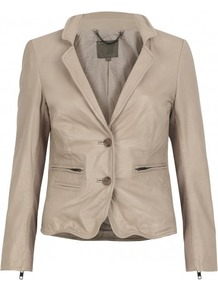 Propos Fitted Leather Blazer In Shell - pattern: plain; style: single breasted blazer; collar: standard lapel/rever collar; predominant colour: stone; occasions: casual, evening, work; length: standard; fit: tailored/fitted; fibres: leather - 100%; sleeve length: long sleeve; sleeve style: standard; texture group: leather; collar break: medium; pattern type: fabric