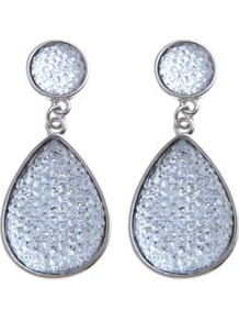 Silver Rough Cut Double Teardrop Earrings - predominant colour: silver; occasions: evening, work, occasion, holiday; style: drop; length: mid; size: standard; material: chain/metal; fastening: pierced; trends: metallics; finish: metallic; embellishment: crystals