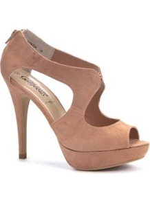 Nude Cut Out Peep Toe Heels - predominant colour: nude; occasions: evening, work, occasion, holiday; material: fabric; heel height: high; embellishment: zips; ankle detail: ankle strap; heel: platform; toe: open toe/peeptoe; style: standard; finish: plain; pattern: plain