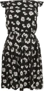 Black Daisy Print Pleat Sleeve Dress - style: shift; length: mid thigh; sleeve style: capped; fit: fitted at waist; neckline: high neck; waist detail: fitted waist; secondary colour: white; predominant colour: black; occasions: casual, evening, holiday; fibres: polyester/polyamide - 100%; hip detail: ruching/gathering at hip; sleeve length: sleeveless; pattern type: fabric; pattern size: small &amp; busy; pattern: patterned/print; texture group: jersey - stretchy/drapey