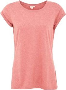 Pink Roll Sleeve T Shirt - neckline: round neck; pattern: plain; style: t-shirt; predominant colour: pink; occasions: casual, holiday; length: standard; fibres: cotton - 100%; fit: loose; sleeve length: short sleeve; sleeve style: standard; pattern type: fabric; texture group: jersey - stretchy/drapey