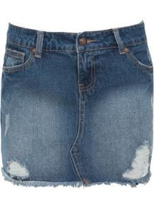 Blue Denim Rip Raw Edge Mini Skirt - length: mini; pattern: plain; fit: tight; waist: mid/regular rise; predominant colour: denim; occasions: casual, holiday; style: mini skirt; fibres: cotton - 100%; texture group: denim; pattern type: fabric; pattern size: standard