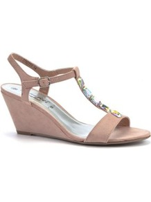 Wide Fit Nude Embellished T Bar Low Rise Wedge Sandals - predominant colour: nude; occasions: casual, evening, work, occasion, holiday; material: fabric; heel height: mid; embellishment: jewels; ankle detail: ankle strap; heel: wedge; toe: open toe/peeptoe; style: strappy; finish: plain; pattern: plain
