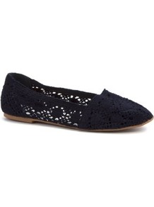 Navy Crochet Plimsolls - predominant colour: navy; occasions: casual, holiday; material: fabric; heel height: flat; toe: round toe; style: ballerinas / pumps; finish: plain; pattern: plain