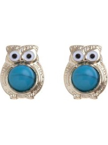 Gold And Turquoise Stone Owl Stud Earrings - predominant colour: turquoise; occasions: casual, work, holiday; style: stud; length: short; size: small; material: chain/metal; fastening: pierced; finish: plain; embellishment: beading