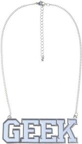 Silver And White Geek Necklace - secondary colour: white; predominant colour: silver; occasions: casual, holiday; style: pendant; length: mid; size: standard; material: chain/metal; trends: metallics; finish: metallic; embellishment: chain/metal