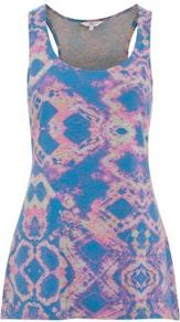 Blue Neon Abstract Aztec Vest - sleeve style: sleeveless; style: vest top; back detail: racer back/sports back; predominant colour: lilac; occasions: casual, holiday; length: standard; neckline: scoop; fibres: cotton - 100%; fit: body skimming; sleeve length: sleeveless; trends: statement prints; pattern type: fabric; pattern size: big & busy; pattern: patterned/print; texture group: jersey - stretchy/drapey