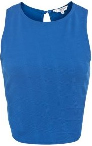 Blue Geo Textured Crop Top - pattern: plain; sleeve style: sleeveless; length: cropped; predominant colour: diva blue; occasions: casual, evening, holiday; style: top; fibres: polyester/polyamide - 100%; fit: body skimming; neckline: crew; back detail: keyhole/peephole detail at back; sleeve length: sleeveless; texture group: cotton feel fabrics; pattern type: fabric