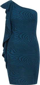 Blue One Shoulder Bodycon Dress - length: mini; fit: tight; sleeve style: sleeveless; style: bodycon; neckline: asymmetric; shoulder detail: tiers/frills/ruffles; waist detail: twist front waist detail/nipped in at waist on one side/soft pleats/draping/ruching/gathering waist detail; predominant colour: teal; occasions: evening, occasion; fibres: polyester/polyamide - stretch; sleeve length: sleeveless; hip detail: ruffles/tiers/tie detail at hip; pattern type: fabric; pattern size: standard; pattern: patterned/print; texture group: other - stretchy