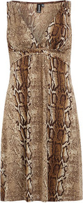Multi Natural Snake Dress - style: empire line; length: mid thigh; neckline: low v-neck; fit: empire; sleeve style: sleeveless; predominant colour: tan; occasions: casual, evening; fibres: polyester/polyamide - stretch; sleeve length: sleeveless; pattern type: fabric; pattern size: big & busy; pattern: animal print; texture group: jersey - stretchy/drapey