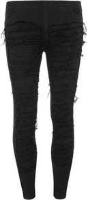 Black Shredded Leg Trousers - pattern: plain; waist: low rise; predominant colour: black; occasions: casual, evening; length: ankle length; fibres: viscose/rayon - stretch; fit: skinny/tight leg; pattern type: fabric; texture group: other - light to midweight; style: standard