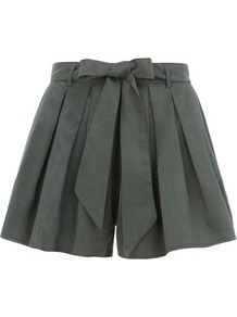 Green Shorts With Bow Belt - pattern: plain; style: shorts; waist detail: belted waist/tie at waist/drawstring; length: mid thigh shorts; waist: mid/regular rise; predominant colour: dark green; occasions: casual, evening, work, holiday; fibres: polyester/polyamide - 100%; hip detail: front pleats at hip level; texture group: cotton feel fabrics; fit: flares; pattern type: fabric