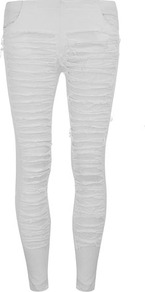 Cream Shredded Leg Trousers - pattern: plain; waist: low rise; predominant colour: ivory; occasions: casual; length: ankle length; fibres: viscose/rayon - stretch; fit: skinny/tight leg; pattern type: fabric; texture group: other - light to midweight; style: standard