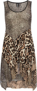 Brown Crinkle Skirt Dress - length: mid thigh; sleeve style: sleeveless; secondary colour: ivory; predominant colour: stone; occasions: evening, holiday; fit: soft a-line; style: asymmetric (hem); neckline: scoop; fibres: polyester/polyamide - stretch; hip detail: soft pleats at hip/draping at hip/flared at hip; sleeve length: sleeveless; texture group: sheer fabrics/chiffon/organza etc.; pattern type: fabric; pattern size: big &amp; busy; pattern: animal print