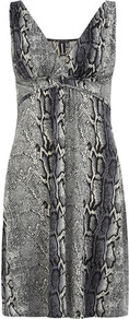 Multi Grey Snake Print Dress - style: shift; neckline: low v-neck; fit: empire; sleeve style: sleeveless; predominant colour: mid grey; secondary colour: black; occasions: evening, occasion; length: just above the knee; fibres: polyester/polyamide - stretch; sleeve length: sleeveless; pattern type: fabric; pattern size: standard; pattern: animal print; texture group: jersey - stretchy/drapey