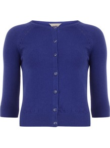 Petite Cobalt Cardigan - neckline: round neck; pattern: plain; length: cropped; predominant colour: royal blue; occasions: casual; style: standard; fibres: cotton - mix; fit: slim fit; sleeve length: 3/4 length; sleeve style: standard; texture group: knits/crochet; pattern type: knitted - fine stitch