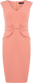 Coral Bow Dress - style: shift; neckline: v-neck; sleeve style: capped; fit: tailored/fitted; pattern: plain; waist detail: embellishment at waist/feature waistband; hip detail: fitted at hip; predominant colour: coral; occasions: evening, work, occasion; length: just above the knee; fibres: polyester/polyamide - stretch; sleeve length: sleeveless; texture group: crepes; trends: glamorous day shifts; pattern type: fabric