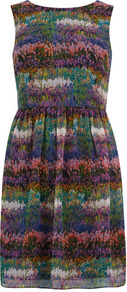 Garden Floral Circle Dress - style: shift; length: mid thigh; sleeve style: sleeveless; waist detail: fitted waist; predominant colour: burgundy; secondary colour: dark green; occasions: casual, evening, holiday; fit: fitted at waist &amp; bust; fibres: polyester/polyamide - 100%; neckline: crew; hip detail: sculpting darts/pleats/seams at hip; sleeve length: sleeveless; texture group: sheer fabrics/chiffon/organza etc.; pattern type: fabric; pattern size: small &amp; busy; pattern: patterned/print