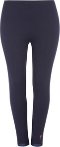 Silk Shore Navy Contrast Trim Leggings - pattern: plain; style: leggings; waist detail: elasticated waist; waist: mid/regular rise; secondary colour: denim; predominant colour: black; occasions: casual; length: ankle length; fibres: cotton - stretch; fit: skinny/tight leg; pattern type: fabric; texture group: jersey - stretchy/drapey