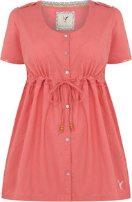 Silk Shore Coral Cotton Ribbon Tie Blouse - neckline: round neck; pattern: plain; length: below the bottom; waist detail: belted waist/tie at waist/drawstring; predominant colour: coral; occasions: casual, holiday; style: top; fibres: cotton - 100%; fit: empire; hip detail: ruching/gathering at hip; sleeve length: short sleeve; sleeve style: standard; texture group: cotton feel fabrics; pattern type: fabric