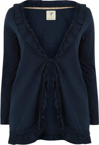 Silk Shore Navy Jersey Ruffle Cardigan - neckline: low v-neck; pattern: plain; length: below the bottom; bust detail: ruching/gathering/draping/layers/pintuck pleats at bust; predominant colour: navy; occasions: casual, work; style: standard; fibres: cotton - 100%; fit: standard fit; sleeve length: long sleeve; sleeve style: standard; pattern type: fabric; texture group: jersey - stretchy/drapey