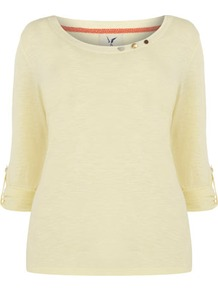 Silk Shore Yellow Jersey Long Sleeve Top - neckline: round neck; pattern: plain; bust detail: added detail/embellishment at bust; style: t-shirt; predominant colour: primrose yellow; occasions: casual, work; length: standard; fibres: cotton - 100%; fit: body skimming; sleeve length: 3/4 length; sleeve style: standard; pattern type: fabric; texture group: jersey - stretchy/drapey