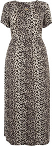 Leopard Print Maxi Dress - neckline: round neck; fit: fitted at waist; style: maxi dress; length: ankle length; bust detail: added detail/embellishment at bust; waist detail: wide waistband/cummerbund; hip detail: fitted at hip; predominant colour: stone; secondary colour: black; occasions: casual, evening, occasion, holiday; fibres: viscose/rayon - stretch; sleeve length: short sleeve; sleeve style: standard; trends: statement prints; pattern type: fabric; pattern size: small & busy; pattern: animal print; texture group: jersey - stretchy/drapey; embellishment: chain/metal