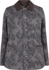 Grey Floral Quilted Jacket - length: standard; style: quilted; fit: slim fit; secondary colour: charcoal; predominant colour: mid grey; occasions: casual; fibres: cotton - 100%; collar: shirt collar/peter pan/zip with opening; sleeve length: long sleeve; sleeve style: standard; collar break: high/illusion of break when open; pattern type: fabric; pattern size: small &amp; busy; pattern: florals; texture group: other - light to midweight