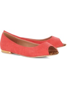 Coral Metallic Heel Peeptoe Pumps - predominant colour: coral; occasions: casual, work, holiday; material: fabric; heel height: flat; toe: open toe/peeptoe; style: ballerinas / pumps; trends: metallics; finish: plain; pattern: plain