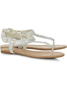 Silver Chainmail Sandals - predominant colour: ivory; occasions: casual, evening, holiday; material: suede; heel height: flat; embellishment: crystals; ankle detail: ankle strap; heel: standard; toe: toe thongs; style: flip flops / toe post; finish: plain; pattern: plain