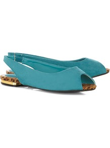 Turquoise Peeptoe Slingback Pumps - predominant colour: turquoise; occasions: casual, holiday; material: fabric; heel height: flat; embellishment: elasticated; ankle detail: ankle strap; toe: open toe/peeptoe; style: ballerinas / pumps; finish: plain; pattern: animal print