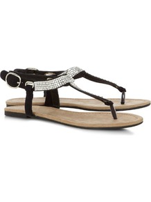 Black Chainmail Sandals - secondary colour: silver; predominant colour: black; occasions: casual, evening, holiday; material: suede; heel height: flat; embellishment: crystals; ankle detail: ankle strap; heel: standard; toe: toe thongs; style: flip flops / toe post; finish: plain; pattern: plain