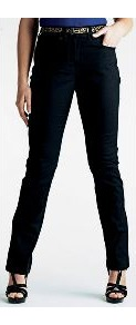 Lola Straight Leg Jeans Length 30in - style: straight leg; length: standard; pattern: plain; pocket detail: traditional 5 pocket; waist: mid/regular rise; predominant colour: black; occasions: casual, evening, work; fibres: cotton - stretch; texture group: denim; pattern type: fabric