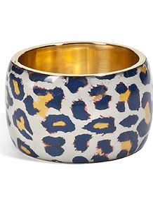 Yellow Multi Bracelet - predominant colour: ivory; secondary colour: navy; occasions: casual, evening, holiday; style: bangle; size: large/oversized; material: chain/metal; trends: statement prints; finish: plain