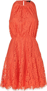 Sweet Clementine Scallop Lace Dress - length: mid thigh; fit: fitted at waist; pattern: plain; sleeve style: sleeveless; waist detail: fitted waist; predominant colour: bright orange; occasions: casual, evening, holiday; style: fit & flare; fibres: polyester/polyamide - mix; neckline: crew; back detail: keyhole/peephole detail at back; sleeve length: sleeveless; texture group: lace; pattern type: fabric; embellishment: lace