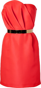 Bright Orange Silk Bustier Dress - style: shift; length: mid thigh; neckline: strapless (straight/sweetheart); fit: tailored/fitted; pattern: plain; sleeve style: strapless; waist detail: belted waist/tie at waist/drawstring; bust detail: ruching/gathering/draping/layers/pintuck pleats at bust; predominant colour: true red; occasions: evening, occasion; fibres: silk - 100%; sleeve length: sleeveless; texture group: structured shiny - satin/tafetta/silk etc.; pattern type: fabric