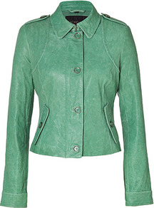 Mint Celia Leather Jacket - pattern: plain; style: single breasted blazer; shoulder detail: obvious epaulette; predominant colour: mint green; occasions: casual, work; length: standard; fit: tailored/fitted; fibres: leather - 100%; collar: shirt collar/peter pan/zip with opening; sleeve length: long sleeve; sleeve style: standard; texture group: leather; collar break: high; pattern type: fabric