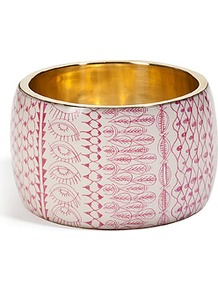 Fuchsia Multi Bracelet - predominant colour: ivory; secondary colour: hot pink; occasions: casual, evening, holiday; style: bangle; size: large/oversized; material: chain/metal; finish: plain