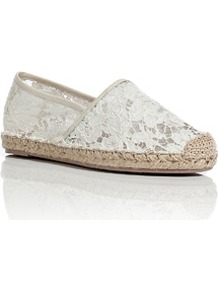 Lace Espadrilles In Ivory/Nude - predominant colour: ivory; occasions: casual, holiday; material: fabric; heel height: flat; toe: round toe; style: ballerinas / pumps; finish: plain; pattern: florals; embellishment: lace